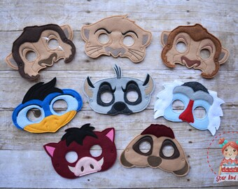 Lion King Inspired Masks Simba Mask Hyena Mask Timon Mask Pumba Mask Rafiki  Mask Uncle Scar Mask Dress Up Kids Mask Child Mask