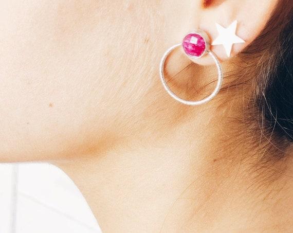 round earrings, silver earrings, women's silver earrings, gem earrings, pink quartz earrings, ruby earring, light earrings