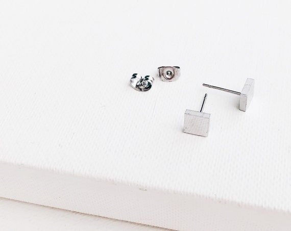 minimal SQUARE earrings for girls or women, if you like minimal earrings. Pair of tiny second hole earrings for men or women.