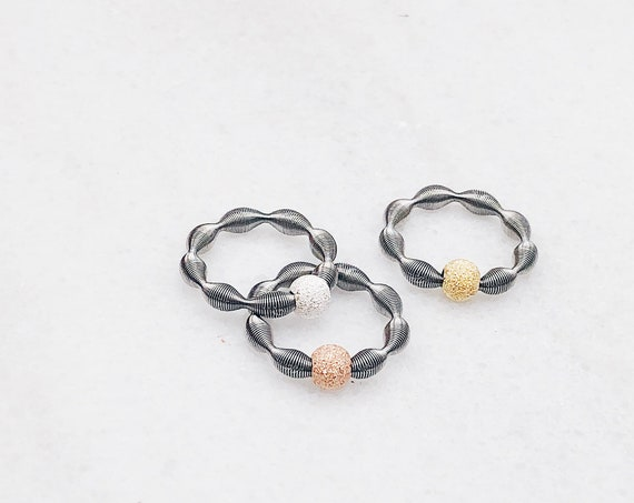 Stretch silver ball ring, gold plated, rose gold plated ball, fully adaptable size, mesh ring, elastic stainless steel ball ring, midi ring.