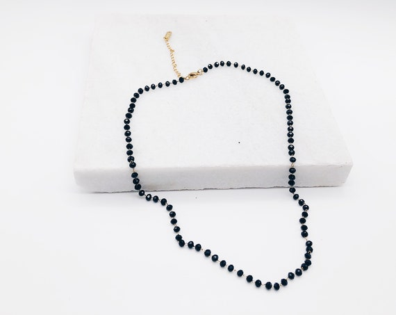 Beaded Choker, black glass chain, SILVER black enamel necklace, beaded chocker, black glass pearl, dainty necklace, seed beader chocker