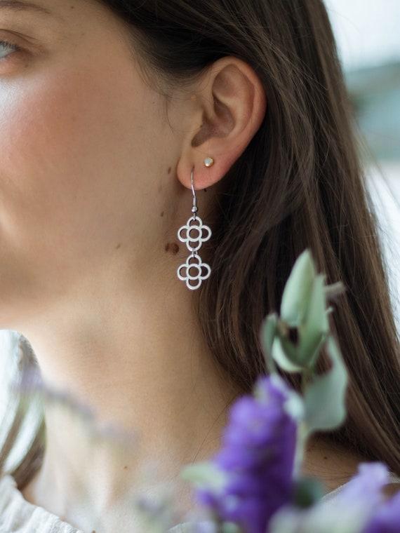 Silver fine hoop with Barcelona flower pendant, golden hoop earrings, golden Barcelona panot, Barcelona flower earrings, tile pendant.