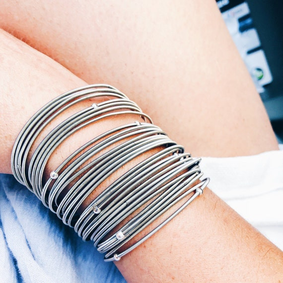 guitar string bracelet, spring coil bracelet, stretchy stainless-steel strings, statement bracelet, bangle silver bracelet, layered bracelet