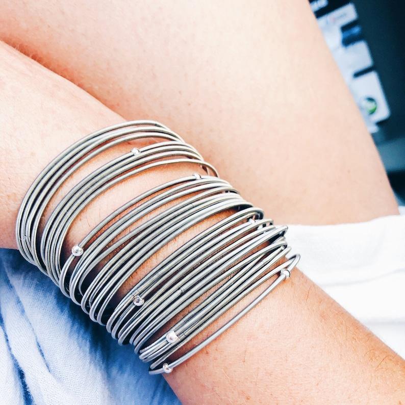 guitar string bracelet spring coil bracelet stretchy Silver
