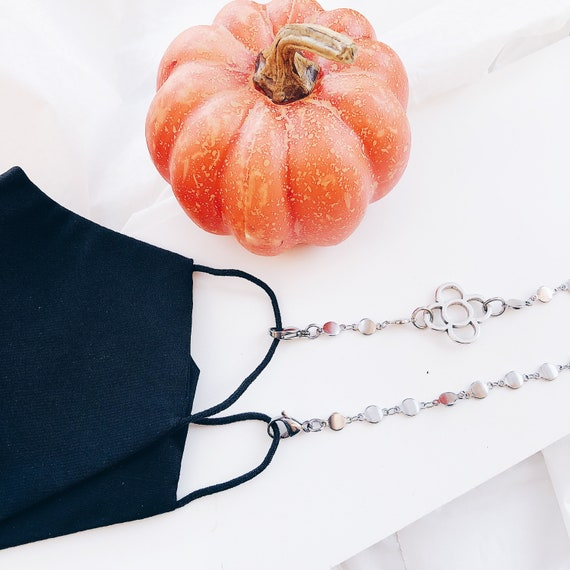 SILVER Face Mask Lanyard, Face Mask Strap, Back to School Face Mask Necklace, Adult Face Mask Holder Necklace, Face Mask Chain