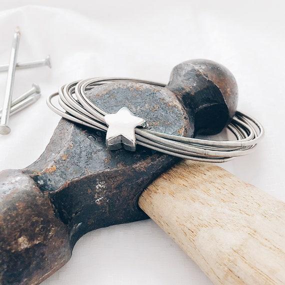 Wide Star Bracelet / Star guitar string bracelet / Handmade woven bracelet / Fashion bracelet/ stacking bracelet, silver bracelet wide