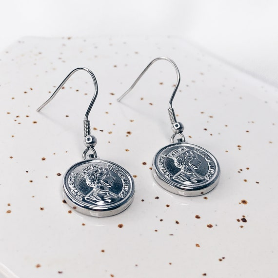 Silver coin earrings, large coin locket, gold coin, dainty locket, gold disc earrings, antique relic, vintage earrings
