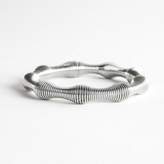 contemporary xxl bracelet, silver bracelet, woman bracelet, wide bracelet, original bracelet, elastic bracelet, stainless steel bracelet