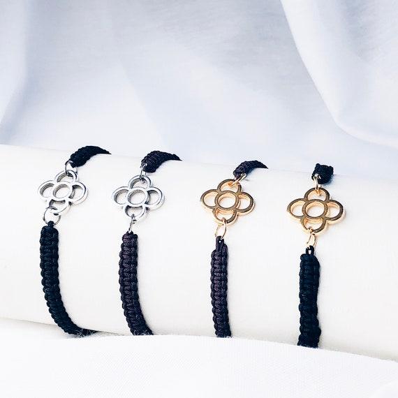 thread bracelet, panot flower bracelet, Rope bracelet, friendship cord bracelet, minimalist thread bracelet, adjustable friendship bracelet
