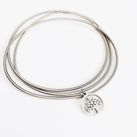 tree of life bracelet, Multi-layer stainless bangle, guitar string bracelet, flexible bangles, boho-ethnic african style