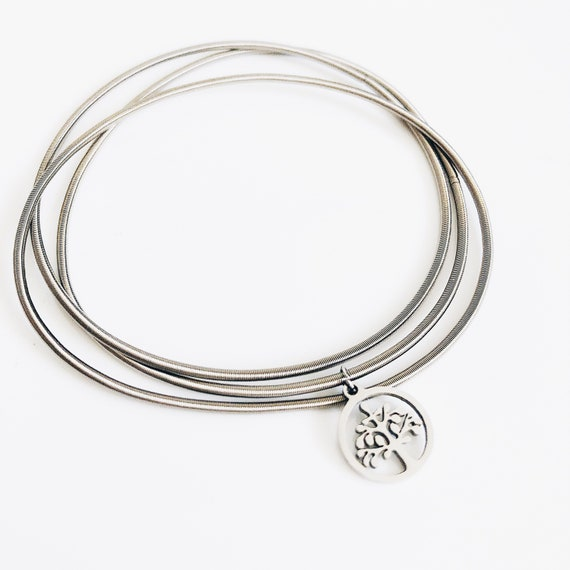 tree of life bracelet, Multi-layer stainless bangle, guitar string bracelet, flexible bangles, boho-etnic african style