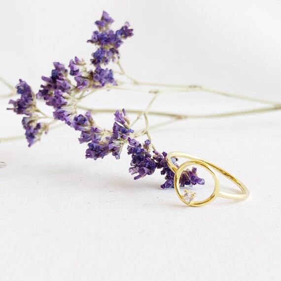 Gold karma circle ring, stacking ring, silver ring, dainty silver ring, bridesmaid ring, zirconium ring, minimalist ring, VOGUE circle curve