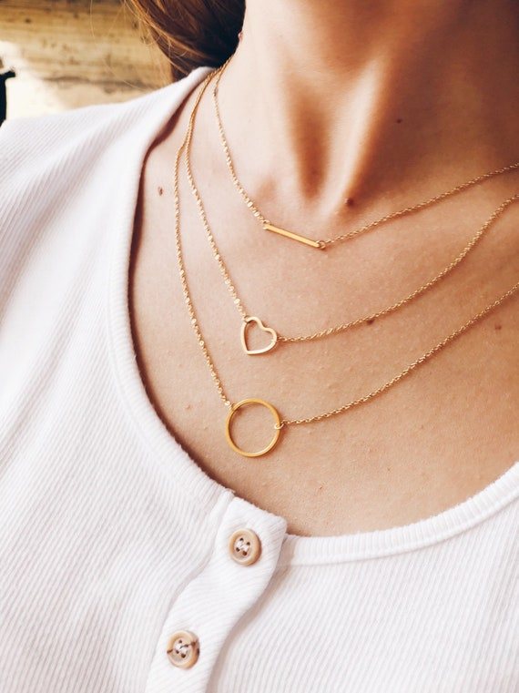 Karma circle golden necklace, dainty circle necklace, mini hoop pendant, stainless steel, valentine's gift, charm necklace, minimalist.