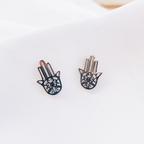 Stainless steel Hamsa Earrings, Silver Hamsa studs Earrings, Gypsy Hamsa Earrings, Boho Hamsa Earrings, Fatima Hand Earrings, gift for women