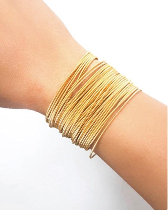 multi-layer golden bangle, guitar string spring coil bracelet, bracelet guitar string, golden stacking jonc, bangle gold bracelet,