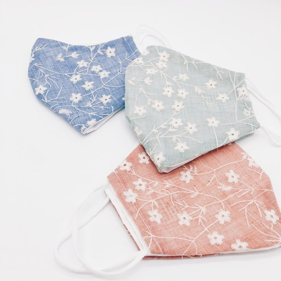 Liberty print face mask, premium face Mask, Premium Cotton, 2 layers ,Embroidered flowers in mask for women, Reusable face masks, filter.