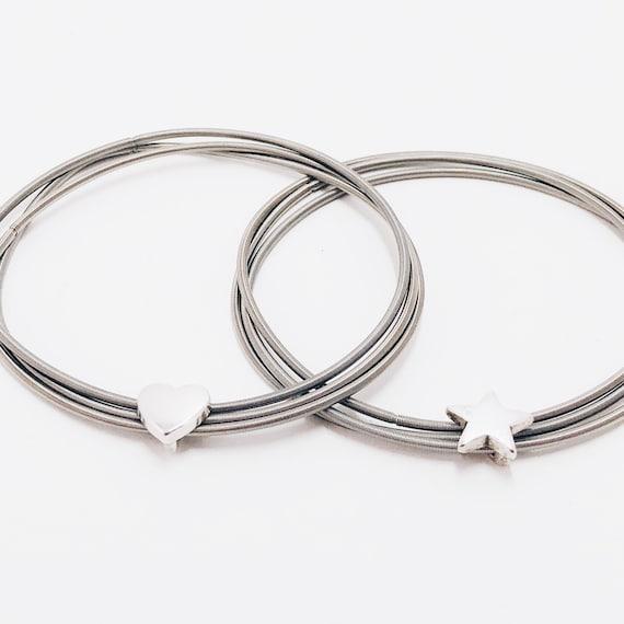 bracelet woman, woman silver, bracelet with heart, bracelet with star, minimalist bracelet, guitar string bracelet, jewelry heart, love gift