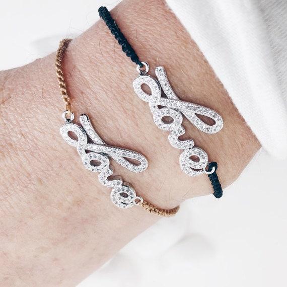 thread bracelet, love bracelet, woman bracelet, word love bracelet, valentine bracelet, valentine gift, love sign gift,