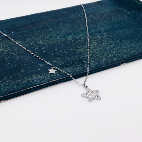 silver necklace, star necklace, two wire necklace, star necklace, silver choker, star pendant, star charm
