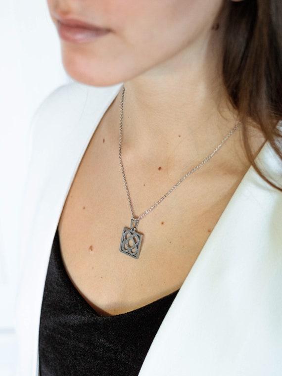 Barcelona tile silver necklace, Barcelona flower pendant, silver chain flower pendant, gift for her, flower pendant, flower silver chain