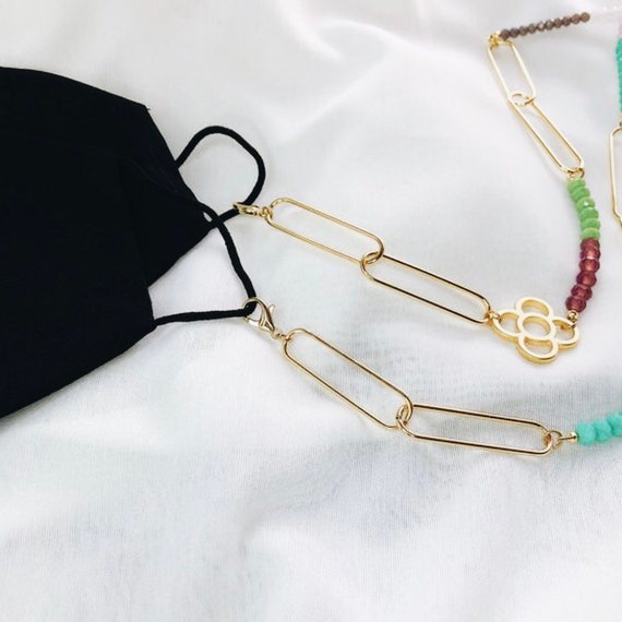 Beads mask chain, Face Mask Necklace, Face Mask lanyard, Face mask hanger, Mask Holder Necklace, Colored Beads, 100% allergy free, stylish