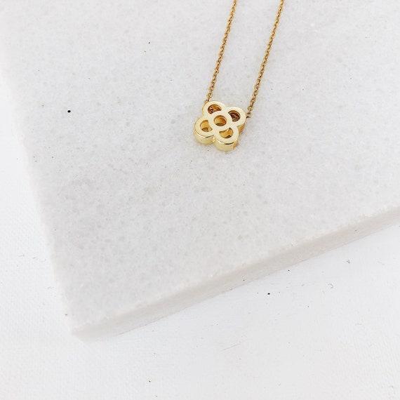minimalist flower chain, gold choker Barcelona flower necklace, Panot flower pendant, Barcelona panot tile necklace, golden flower necklace