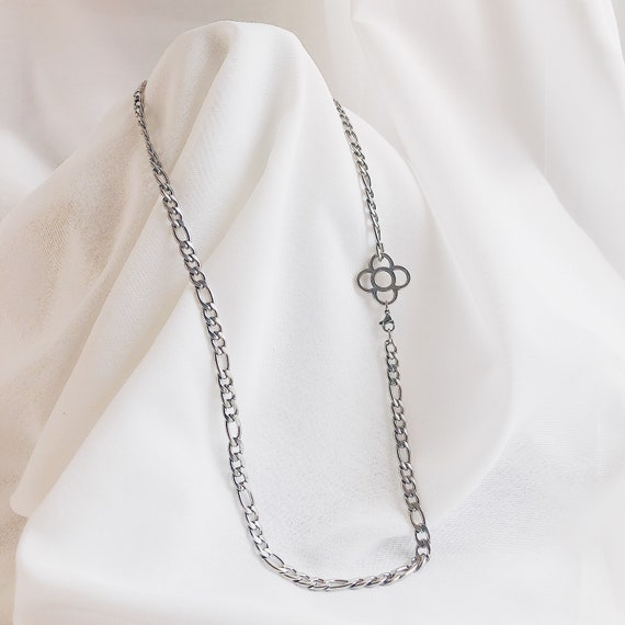 silver stainless steel chain long chain, women's long chain silver , unisex necklace, silver strong chain long  necklace, wide silver chain