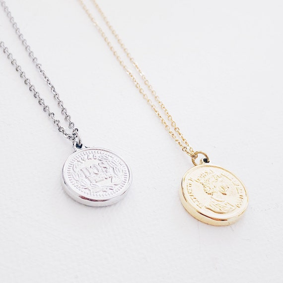 Coin silver necklace, Large coin medallion, Gold Coin, dainty medallion necklace, gold disk necklace, ancient relic style necklace,vintage