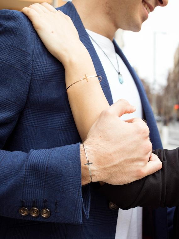 couple fine bracelet cross, cross bracelet, silver bracelet, minimalist bracelet, woman's gift, daddy bracelet, cross slave, silver slave