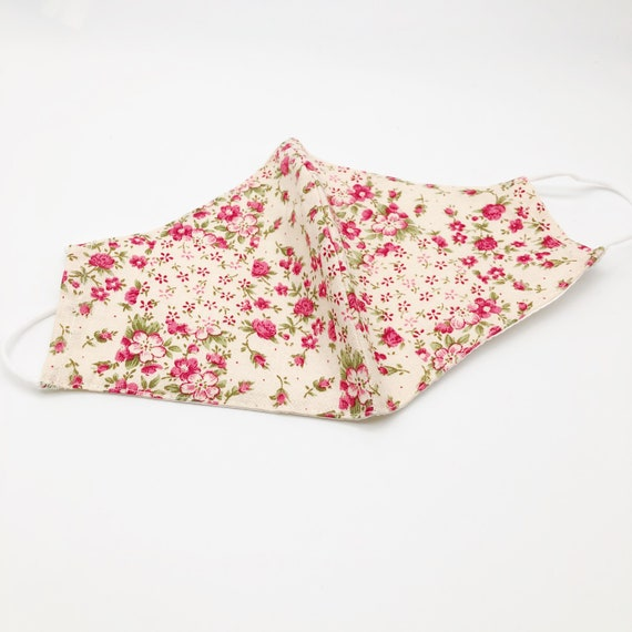 Liberty print mask with filter, reusable face mask, luxury soft cotton layers and pocket for disposable filters, washable breathable cotton.