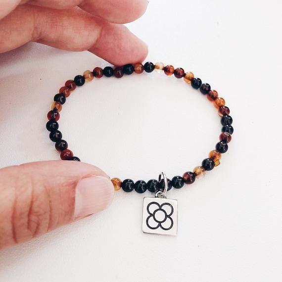 beaded bracelet, rose quartz gemstone, agate beaded, Healing Crystal Gemstone Bracelet, 5 mm beads, panot medaillon flower, genuine gemstone