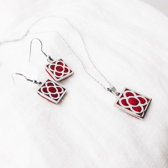 jewelry sets Panot earrings and necklace, Barcelona flower, clay red earrings, Barcelona panot , Barcelona gift, panot Barcelona jewels