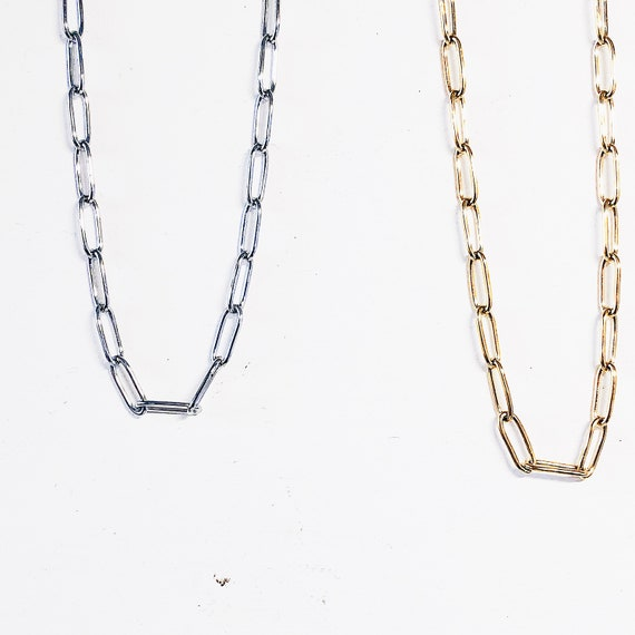 Chunky chain necklace, Stainless steel, Silver, Gold, Dense paperclip style, Chunky necklace, statement chain, Billie eilish style.