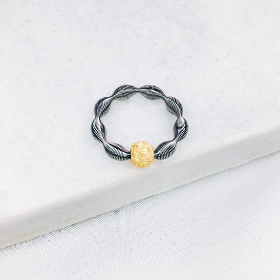 Stretch silver ball ring, gold plated, rose gold plated ball, adaptable size, mesh ring, stardust ring, beaded ring, midi stacking ring
