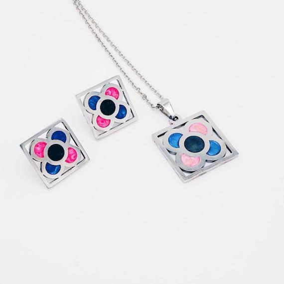 Barcelona jewelry sets, panot earrings, flower earrings, Barcelona flower earrings, Barcelona gift, blue earrings, pendant Barcelona