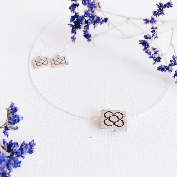 set silver panot flower pendant, Barcelona woman necklace, minimalist jewelry, Barcelona flower choker, BARCELONA flower pendant, PANOT