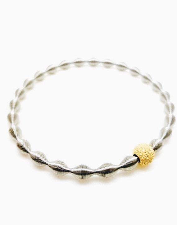 women's gold bracelet original, guitar string bracelet, elastic bracelet, industrial design bracelet, original design bracelet