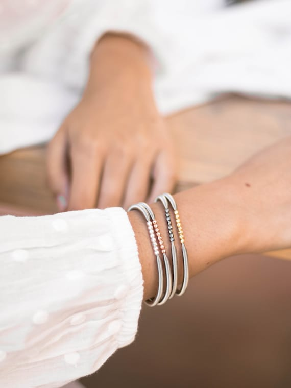 Beaded stretch bracelet for women | Flexible guitar string Stacking style bangle | Made of Stainless Steel