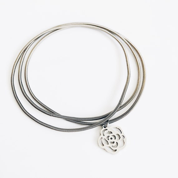 Flower silver bracelet for women, Multi-layer stainless bangle, guitar string bracelet, flexible bangles, boho-ethnic african style