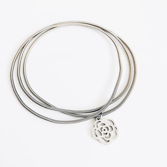 Flower silver bracelet for women, Multi-layer stainless bangle, guitar string bracelet, flexible bangles, boho-etnic african style
