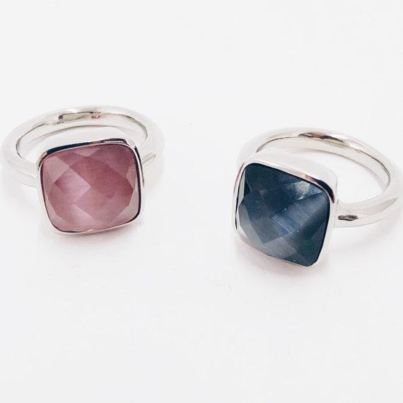 stone ring, woman ring, midi ring, quartz ring, pink quartz ring, blue quartz ring, natural stones ring