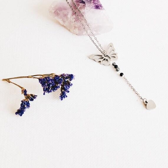 butterfly necklace, steel butterfly necklace, Boho necklace, minimal necklace, butterfly jewelry, minimalist, fine choker