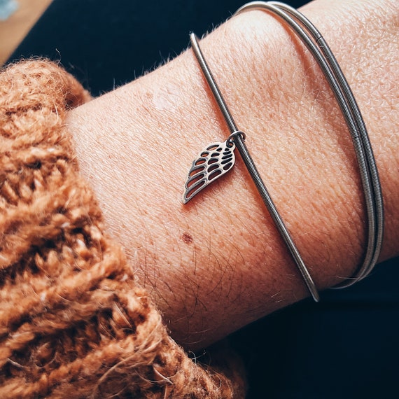 Angel wings bracelet, flexible bangle, guitar string metal bangle with angel wing, multi-layer stainless bangle, silver stacking bangle