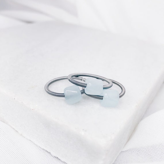 Guitar string stackable ring set | Stretch woman ring with light blue glass pearl stone | Gift for her
