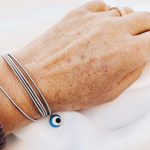 evil eye bracelet, Tiny evil eye bracelet, Mother of crystal evil eye, Gift jewelry