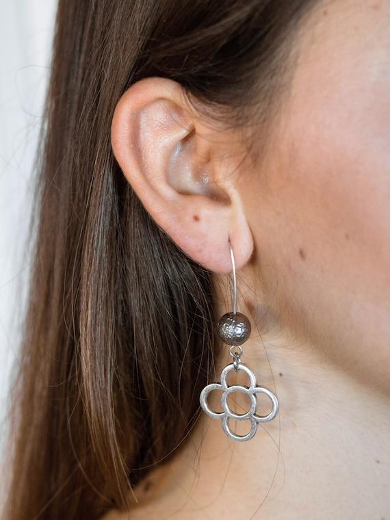 Long earrings, women's earrings, Barcelona flower earrings, Barcelona gift, Barcelona flower jewel, large FLOWER earrings