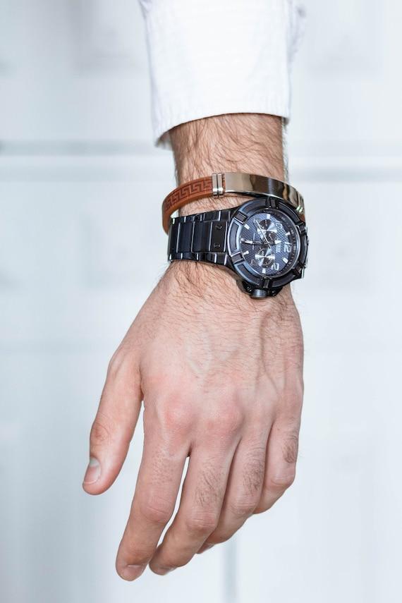 bracelet man, bracelet plate, bracelet brown leather,  for him, bracelet man , bracelet valance, bracelet plate for man