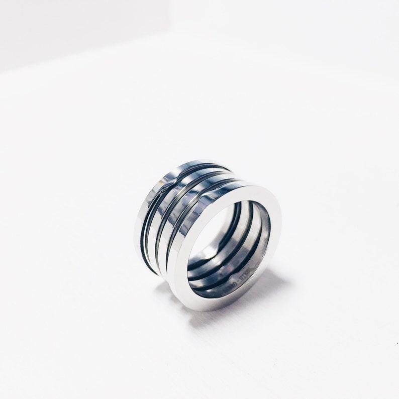 en venta dcaa0 36a1c Anillo ancho, anillo mujer, anillo Bulgari, anillo plata, anillo  minimalista, anillo diseño industrial
