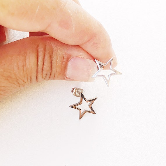 Star earrings small,  minimalist studs, stainless steel, silver, celestial, Titanium, Hypoallergenic, Sensitive Skin, Surgical Steel, gift