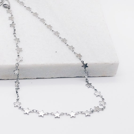 Silver star choker, starfall necklace, silver star necklace, necklace dainty, Layered silver Choker Celestial Jewelry, dainty necklace,
